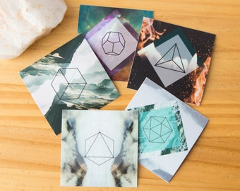 5 Platonic Solids Sacred Geometry Stickers - Ether, Water, Wind, Fire Earth, Vinyl Stickers, seed of life, unity, crystal grid, boho, tarot