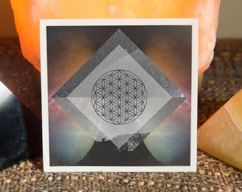 Flower of Life Sacred Geometry Sticker - Vinyl Stickers, seed of life, unity, energy, ancient symbol, crystal grid, boho, tarot, powerful