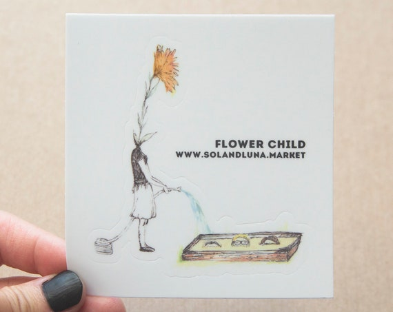 Flower Child Watercolor Sticker - Hand Drawn & Digitalized - Vinyl Stickers, nature enthusiast, outdoors, flowers, farmer, homesteader