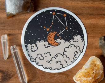 Libra Constellation Astrology Art Sticker - Hand Drawn - Vinyl Stickers, horoscope, sun sign, energy, boho, clouds, cosmic