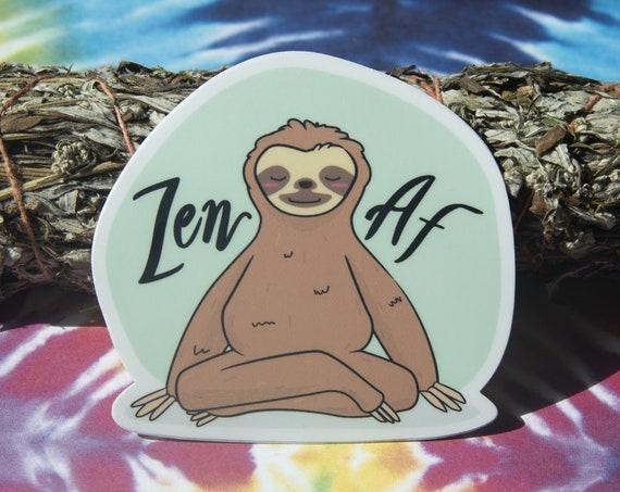 Zen AF Sloth Sticker - Hand Drawn - Yoga Vinyl Stickers, mint, sea foam green, sloths, animals doing yoga, cute kawaii
