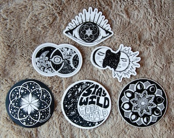 Cosmic Sticker Pack (6 pieces) - Hand Drawn, Moon, Witchy Gift, Vinyl Stickers, space, etherial gifts, energy, boho, clouds, sacred geometry