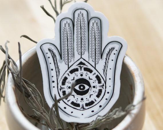 Hamsa Hand Art Sticker - Vinyl Stickers, protection, black and white, energy, ancient symbol, crystal grid, boho, tarot, elements, magic
