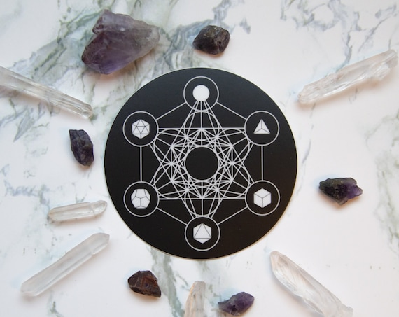 Metatron's Cube and the Five Platonic Solids Circle Sticker - Vinyl Stickers, Sacred Geometry, ether, energy, crystal grid, boho