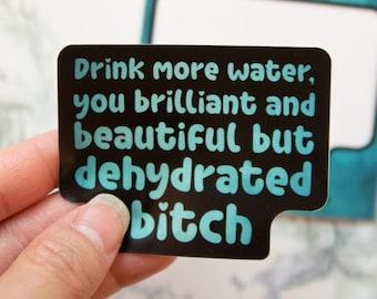 Drink More Water B* Sticker - Funny, Motivation, Water Bottle, Vinyl Stickers
