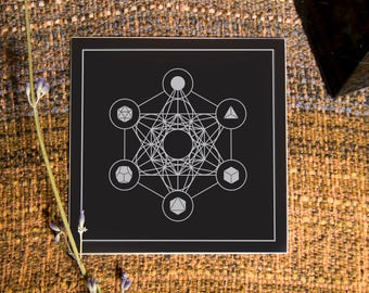 We Are Limitless Sacred Geometry Sticker - Metatron's Cube and the Five Platonic Solids - Vinyl Stickers, ether, energy, crystal grid, boho