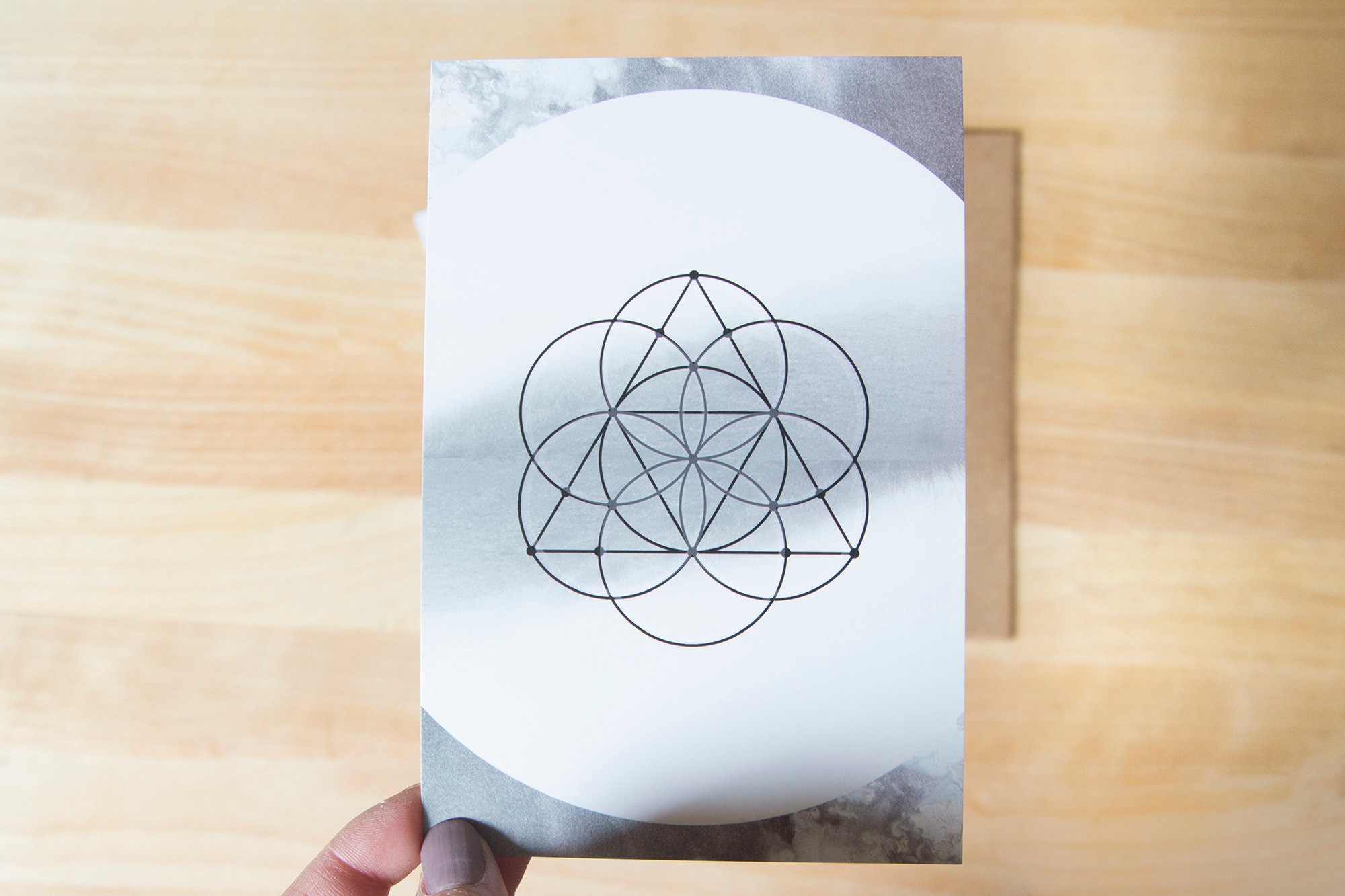 postcard style 4x6 cards seed of life sacred geometry print
