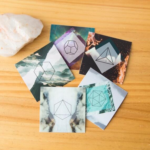 5 Platonic Solids Sacred Geometry Stickers