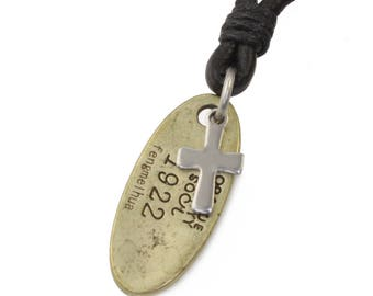 Necklace pendant DOG TAG cross leather necklace surfer men's surfer necklace leather necklace necklace men N333