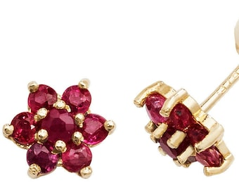 Solid 9ct Gold Ruby Dragonfly Stud Earrings with FREE Gift Box