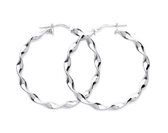 Sterling Silver 37mm Large Twisted Hoop Earrings