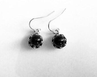 Simple, delicate,  elegant, pearly earrings; black classic earrings