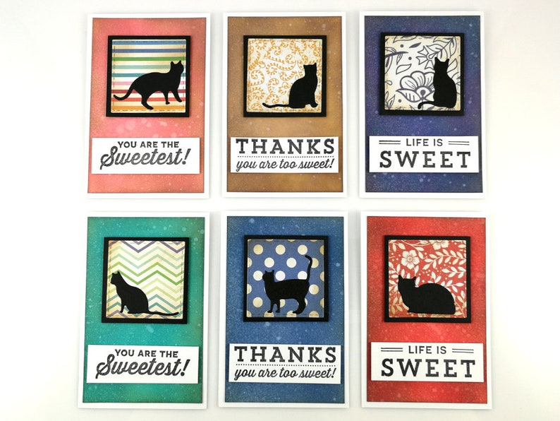 Motivation Card Inspiration Card Thank You Card Encouragement Card Cute Cat Card Life is Sweet Cat Silhouette Blank Greeting Cards