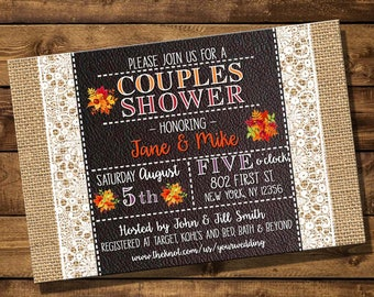 Fall Themed Couples Bridal Shower Invite