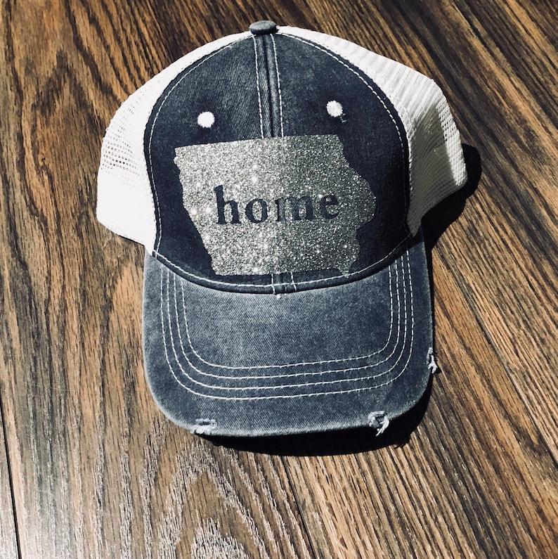 e7c6f836aeffe Custom Iowa Glitter Trucker Hat