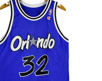 8b203d07 vintage 90s shaquille o'neal orlando magic champion jersey size 40 small  shaq