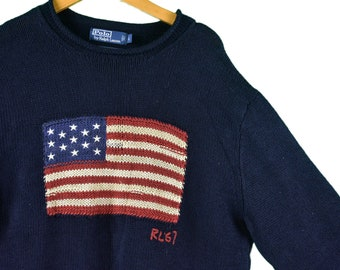 157f7af5c733b vintage polo ralph lauren us flag knit sweater size large