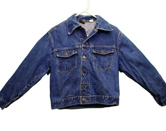 Vintage 1960s two toned denim jacket  dead-stock western mod denim jacket patched denim 60s jacket size Small
