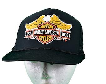 705fc8d9 vintage 80s harley davidson trucker hat snapback