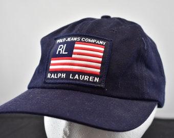 4c51464e3f75a vintage 90s big flag polo jeans ralph lauren strapback hat