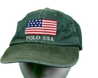 faacae1d39e40 vintage polo ralph lauren flag polo usa hat