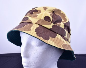 vintage 1970s columbia duck camo gore-tex bucket hat size small ca98b8b48dd