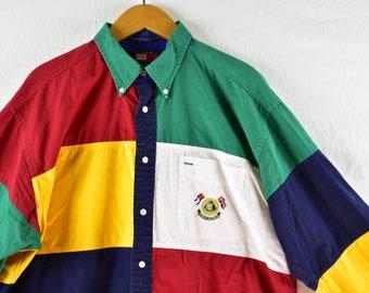 vintage tommy hilfiger lotus racing colorblock shirt size large rare 0ee2845742de