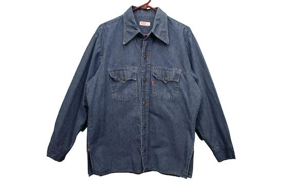 70s big E levis denim shirt size large