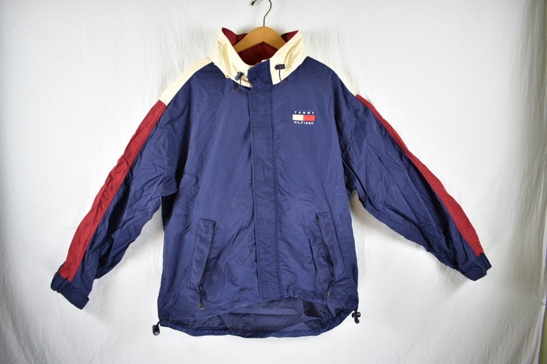 e5d066f1d Vintage 90s tommy hilfiger windbreaker jacket packa away size | Etsy