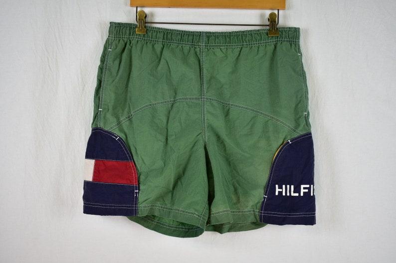 e18bfbf63c Vintage Tommy Hilfiger Big Flag Spellout Swim Trunks Size | Etsy