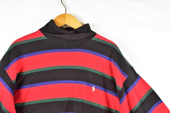 Vintage Taille Xxl Ralph Lauren Polo Sweat Des 90 Années Roulé Col Rayé FlK3Tc1J