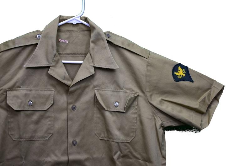60s vietnam era short sleeve field shirt size large