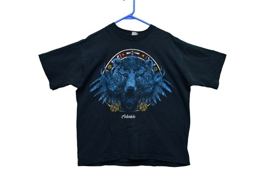 90s native american animal design tee shirt size x