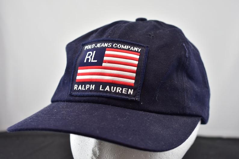 24cd9c9b43644 Vintage 90s big flag polo jeans ralph lauren strapback hat