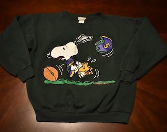 Vintage peanuts snoopy sweatshirt fotball player size xl 80s 90s