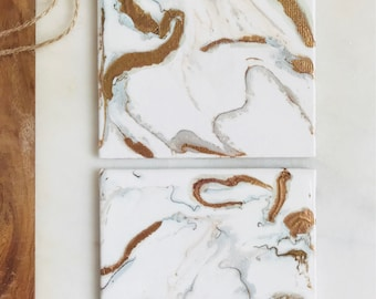 White & Gold Marble Hand Painted Coaster - Abstract Acrylic Pour Dirty Pour