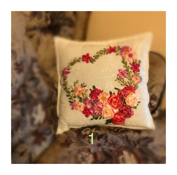 Ribbon Embroidery Patterns Ribbon Embroidery Pillow Etsy