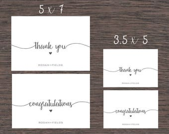 Rodan and Fields Folded Thank you & Congratulations Cards