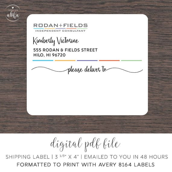 rodan and fields personalized shipping labels digital file 3 etsy