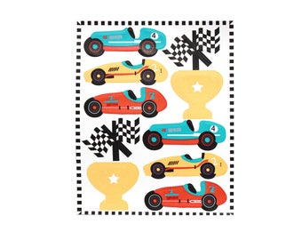 Vintage Race Car- Sticker Set | Set of 2 | Kid's Stationery, crafts | Party Favors | Scrapbooking | Cars, Checkered Flags, Trophies
