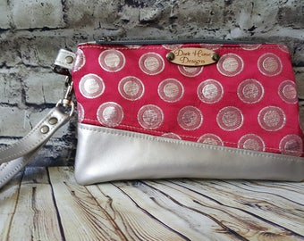 Faux Leather and Fabric Clutch