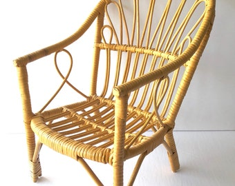 Vintage Bamboo Rattan Miniature Doll Chair
