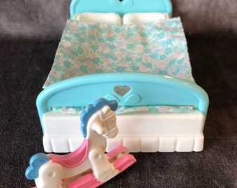 Vintage Fisher Price loving family dollhouse bed