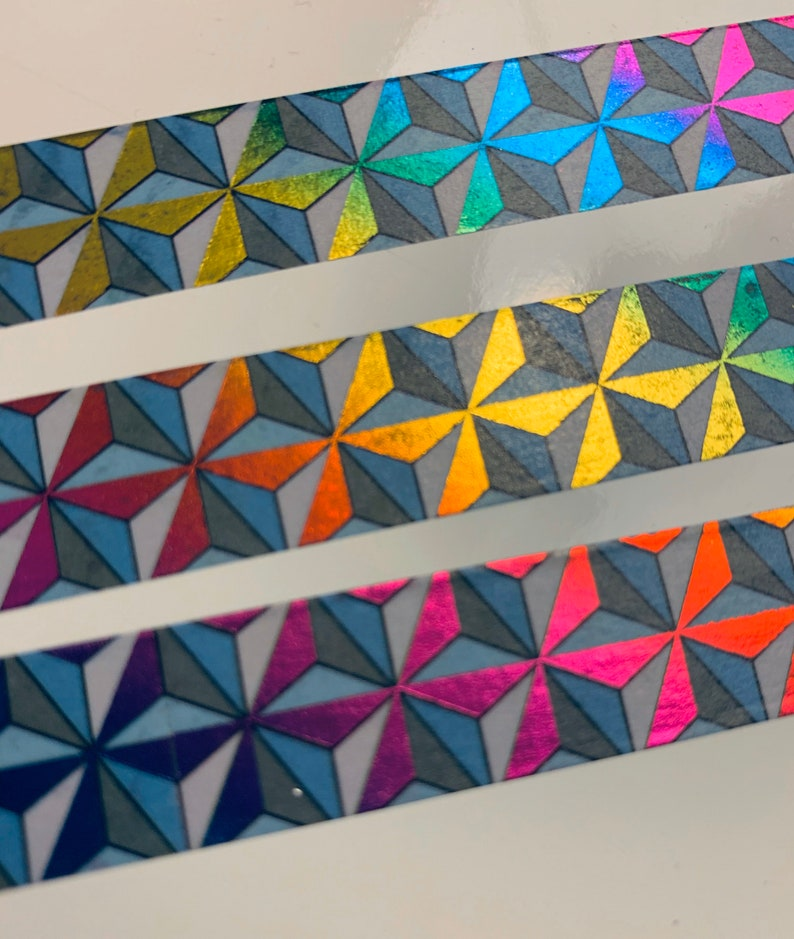 OOPS RAINBOW FOIL Geodesic 15MM  Rainbow Foil Washi image 0