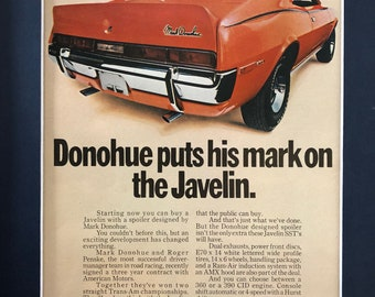 "1970's AMC Javelin Advertisement ""Donohue puts his mark on the Javelin"""