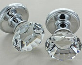 Diamond Crystal Faceted Clear Glass Mortice Door Knobs by G Decor 1523