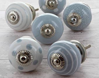 Grey & White Ceramic Door Knobs Cupboard Drawer Door Handles
