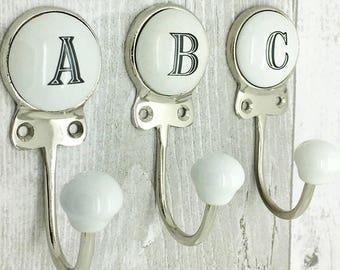 Ceramic Alphabet Or Number Letter Wall Coat Rack Hook 3501