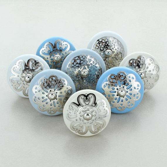 G Decor Grey Stars Pack of 8 Ceramic Door Knobs Vintage Shabby Chic Cupboard Drawer Pull Handles