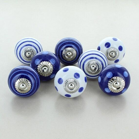 G Decor Lot de 8/boutons de meuble vintage en c/éramique Portes de placard et tiroirs Style shabby chic Gris /& Blanc